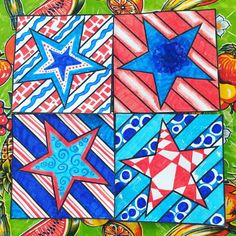 Radial Symmetry COLLABORATIVE Activity Coloring Pages 20 NEW, original tiles to decorate - then collaborate - for a rad radial artwork! Stars and Stripes, Fourth of July, patriotic activities. Art Lessons For Kids, Art Lessons Elementary, Art For Kids, Elementary Schools, Autumn Art, Winter Art, Square 1 Art, 4th Grade Art, Ecole Art