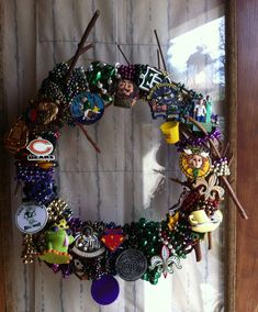 Mardi Gras wreath made of the beads you can't throw out