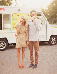 Wedding PR, Wedding Public Relations, WEdding Marketing Expert, Alix Loosle, ice cream engagement shoot, summer engagement shoot ideas, Dad's Ice Cream Truck, coral heels, hi-lo skirt, bowtie, ice cream, statement necklace, fun engagement session ideas, outdoor engagement session ideas