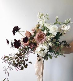 Wedding Flower Arrangements Totally in love with this bouquet with Wedding Flower Arrangements, Floral Arrangements, Bridal Flowers, Beautiful Flowers, Purple Flowers, Pink Roses, White Flowers, Floral Wedding, Wedding Colors
