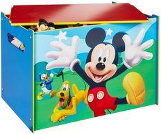 Je kunt nu alles gemakkelijk opbergen met deze geweldige speelgoedkist van Mickey Mouse. De blauwe kist is bedrukt met verschillende figuren van Mickey Mouse. Afmeting: 630x50x430 mm - Speelgoedkist hout Mickey Mouse: 60x40x40 cm