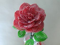 Handmade Red Rose French Beaded Flower by BuddingCreations on Etsy, $28.50