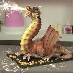 Make a Dragon Cake with Fire Blowing Dragon Birthday Cakes, Dragon Birthday Parties, Dragon Cakes, Dragon Party, Fondant Flower Cake, Ruffle Cake, Fondant Bow, Fondant Cakes, Camo Wedding Cakes