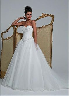 Cool Dressilyme Glamorous Tulle Sweetheart Neckline Basque Waistline A-line Wedding Dress With Embroidered Beadings
