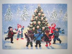 """VINTAGE """"CHILDREN PLAYING AROUND TRIMMED TREE"""" CHRISTMAS GREETING CARD"""