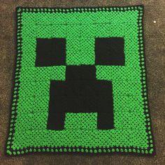Granny Squares Minecraft Creeper Blanket. Crochet