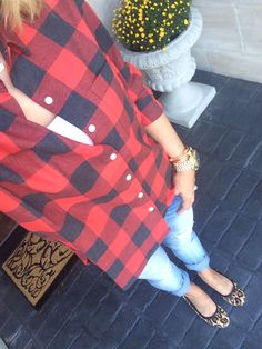 Red & Black Buffalo Check + Denim + Leopard
