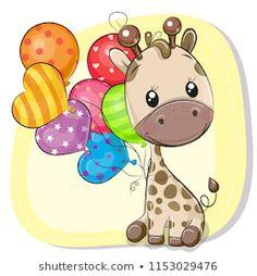 Cute Cartoon Giraffe with balloon. Greeting card Cute Cartoon Giraffe with balloon stock illustration Cute Giraffe Drawing, Giraffe Art, Cute Animal Drawings, Cute Drawings, Cartoon Giraffe, Cute Cartoon, Disney Cartoon Characters, Free Vector Art, Cute Baby Animals