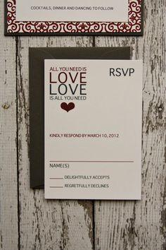 Modern Wedding Invitation All You Need is Love