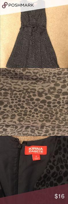 Kirna Zabete grey leopard wrap style dress NWOT kirna Zabete leopard wrap style dress. Perfect dress for the holidays. Sheer overlay. Kirna Zabete Dresses