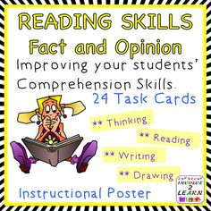 This set has an instructional poster explaining the concept of using FACT AND OPINION plus 24 Task Cards and a record sheet Improve your students' comprehension skills by encouraging them to think as they read.