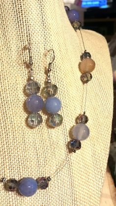 Blue Brown Agate Stones and Blue Iridescent Glass Crystals on Wire 16 Inch Necklace with Matching Earrings www.etsy.com/shop/flowerfelicity