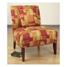 Armless-Living-Room-Chair-Office-Den-Multi-Color-Red-Green-Focal-Point-Blend-In