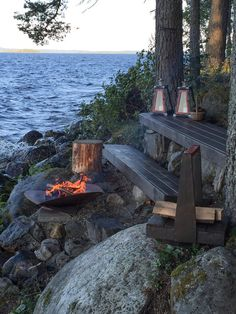 A Fire pit by the sea/ mökki,nuotiopaikka,nuotio Outdoor Spaces, Outdoor Living, Outdoor Decor, Lakeside Living, Outdoor Life, Summer Cabins, Haus Am See, Vides, Cottage Living