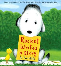 "Inspired by his new love of words, Rocket decides to write a story. He begins to write about the owl in the nest that he passes by every day...when he's through, he has a story ""...the owl liked...very much!"""