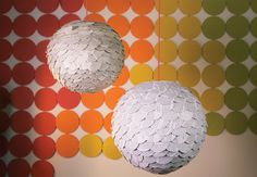 Scalloped Paper Globes on Creativebug - cut circles with one flat edge.  Glue along flat edge and paste in rows on paper lampshade. Use old books!