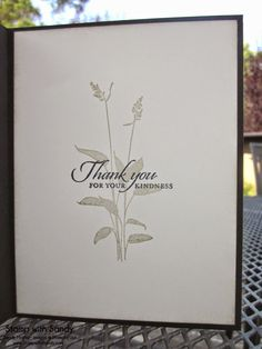 inside view of handmade card .... shadow stamped flower silhouette with sentiment in black on top ...