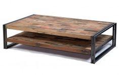 Table basse Industrielle Factory Samudra fer et lattes de bois de bateau recycle