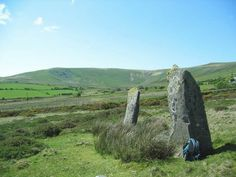 These standing stones are called Cerrig Meibion Arthur (The Stones of Arthur's Sons) in the Preseli Mountains, Pembrokeshire, West Wales. Traditionally, these standing stones are said to be the graves of King Arthur's sons who were killed while hunting the ferocious Twrch Trwyth, the boar which appears in the tale 'Culhwch ac Olwen (one of a collection of ancient stories found in The Mabinogion)