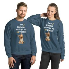 A new sweatshirt for Yorkshire Terrier mom and parent from our collection, Almost normal, with white print paws on the left sleeve. #dogstaff #yorkie #yorkshireterrier #yorkieclothes #yorkielover #yorkiesweatshirt #sweatshirt