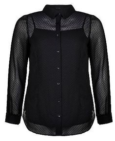ELVI Plus Size Ladies Black Chiffon Flock Spot Shirt