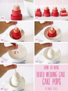 How to make Tiered Wedding Cake – Cake Pops Wedding Cake Pops, Wedding Cookies, Cake Icing, Eat Cake, Mini Cakes, Cupcake Cakes, Cake Pop Tutorial, Cute Cakes, Cake Cookies