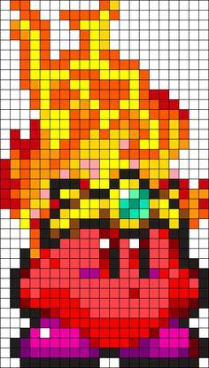 Fire Kirby Perler Bead Pattern / Bead Sprite