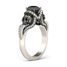 Brilliant Skull Two tone 1.5 Black Round cut CZ Ring #Unbranded #SolitairewithAccents