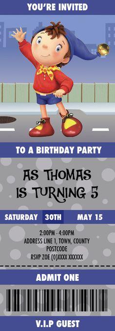 Noddy Birthday Invitation created by Nics Designs. 3rd Birthday, Birthday Ideas, Birthday Parties, Party Themes, Party Ideas, Admit One, Youre Invited, Birthday Invitations, Gabriel