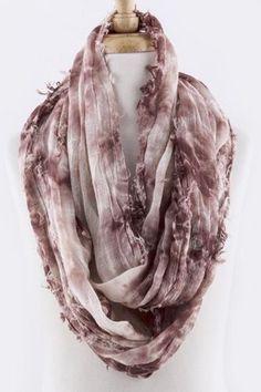 Tie dye wine & ivory infinity scarf