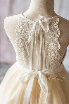 2016 Beige White Junior Bridesmaid Dress, Spaghetti Strap Mesh Chiffon Flower…