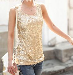 <3 Cute Gold Sequined Sleevelss Shirt <3