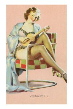 Sitting Pretty, Lady with Ukulele Premium Poster