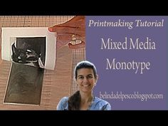 Printmaking Demo: Monotype Mixed Media Dog Portrait - YouTube--Also demonstrates trace monotype