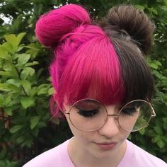 When Winter and Spring Collide! Hair by We are supporting Amber this week. Make our day and hers by givi. Half Colored Hair, Half Dyed Hair, Half And Half Hair, Split Dyed Hair, Dye My Hair, Pink And Black Hair, Green Hair, Purple Hair, Hair Dye Colors