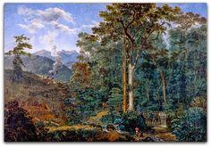 Félix Taunay - 1830 ca. - Mata Reduzida a Carvão -circa 1830 Museu Nacional de Belas Artes Rio de Janeiro  Enfocando a relação do homem com a natureza, produz dois de seus principais quadros: Mata Reduzida a Carvão, ca.1830 e Vista da Mãe d'Água, ca.1850.