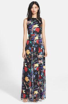 Alice + Olivia 'Elis' Floral Print Textured Silk Maxi Dress | Nordstrom