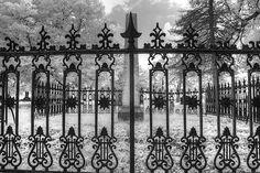 Photograph - Alton Illinois Cemetery Gate Wrought Iron Infrared by Jane Linders , Alton Illinois, Infrared Photography, Most Haunted Places, 5 Image, Great Photos, Cemetery, Fine Art America, Monochrome, Camper Hacks