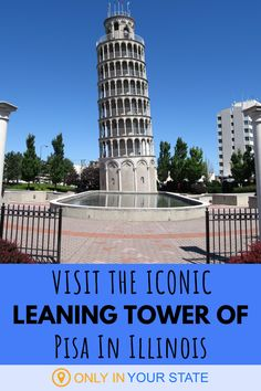 Did you know that Illinois has its very own Leaning Tower of Pisa? It does, along with several other European inspired attractions and restaurants. Don't miss these dream travel destinations - enjoy them all on our little road trip. Vacation Places In Usa, Vacation Trips, Vacation Ideas, Great Buildings And Structures, Modern Buildings, European Road Trip, Dubai Skyscraper, Italian Village, Haunted Places