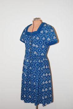 Vintage 1960s German Blue & White Novelty Print Shirtwaist Dress by GazelleStar, $50.00
