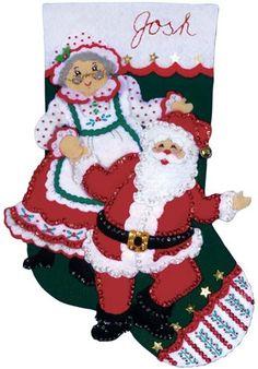 VENTA / KIT DE MEDIA / Baile Noel / Navidad - calcetín - Santa - Sra. Claus / Design Works fieltro Kit