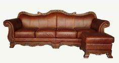 Living Room Furniture Brown Leather Chesterfield With Square Chaise Ottoman Lazy Boy Leather Sofa