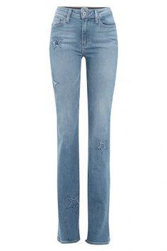 Paige Paige Flared-Jeans aus Baumwoll-Stretch mit Sternen – Blau