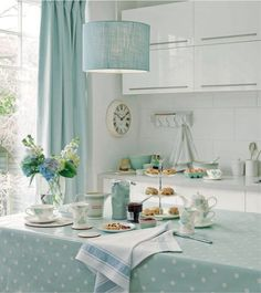 Charming kitchen from Laura Ashley - love the aqua light shade Home Design, Küchen Design, Interior Design, Shabby Chic Kitchen, Kitchen Decor, Kitchen Dining, Kitchen Ideas, Kitchen Interior, Dining Area