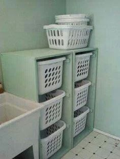 This would be perfect to use in the laundry area to sort clothes after folding! Laundry Dresser-Do it yourself home projects from Ana White Laundry Basket Dresser, Laundry Basket Organization, Storage Baskets, Home Organization, Laundry Baskets, Storage Ideas, Laundry Organizer, Toy Storage, Small Laundry