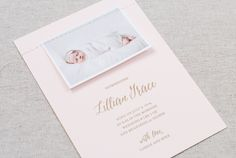 Oh So Beautiful Paper: Lillian's Blush Pink Letterpress Birth Announcements - sewn on image