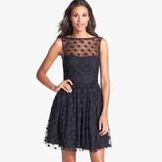 Jill Stuart Size 4 Black Polka Dot Cocktail Dress