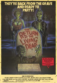 Return of the Living Dead This movie was a different view of the Zombie lore. They don't want flesh in this one but instead want brains. They also can't be killed by any of the usual means. You are to burn them to ashes to kill them. Good movie. 5 of 5