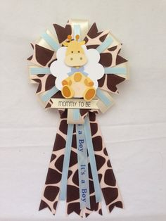 Mommy to be ribbon corsage - baby boy - jungle animal - safari animal - giraffe by KatrinaInvites