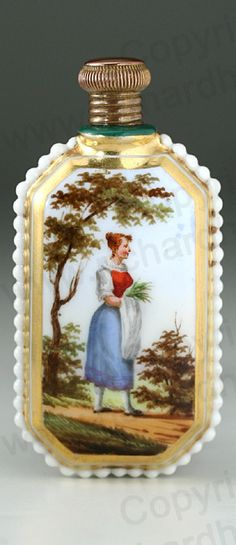 ANTIQUE c.1850 FRENCH PORCELAIN SCENT PERFUME BOTTLE WITH HAND PAINTED SCENE. This item is sold. To visit my website to see what's in stock click here: http://www.richardhoppe.co.uk or for help or information email us here: info@richardhoppe.co.uk